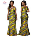 BRW Bazin Riche African Print Two Piece Set Dashiki African Clothes for Women Square Collar Sleeveless Crop Skirt and Top WY1168