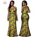 BRW Riche Bazin Africano de Impresión de Dos Piezas Africano Dashiki ropa para Mujeres Square Cuello Sin Mangas Camisa Corta Falda y Top WY1168