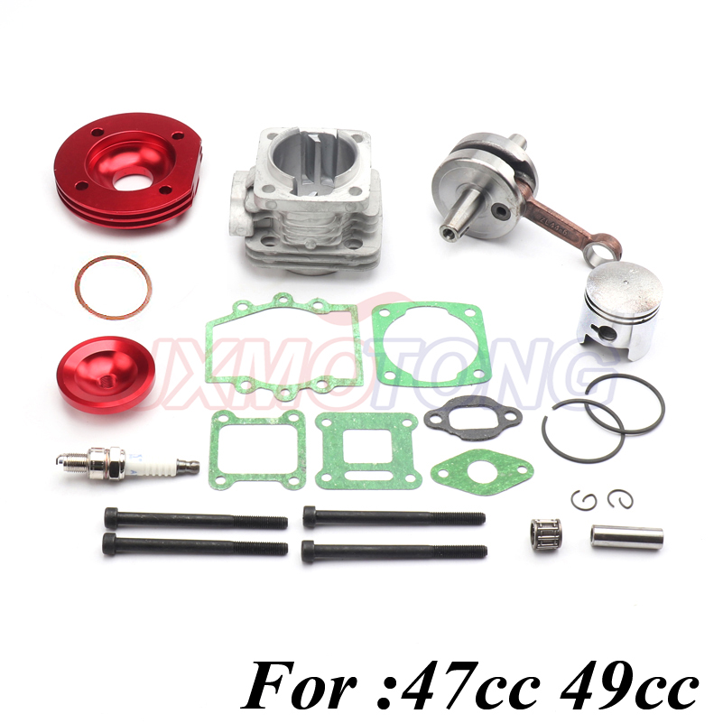 44mm Red Cylinder Big Bore 2 grooves Kit Crankshaft Gasket Set For 47cc 49cc Dirt Pit Bike Mini ATV Quad Motorcycle Pocket Bikes 50cm oil brake fuel line rear disc brake caliper w pad 47cc 49cc mini pit dirt quad pocket rocket bike purple