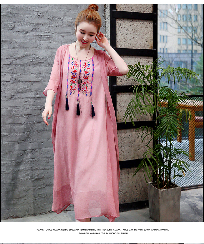 2019 New Cotton Linen Casual 2 Pieces Women Dresses Slim Sleeveless Dress And Cardigan Summer Embroidery Chinese Style Dress 11
