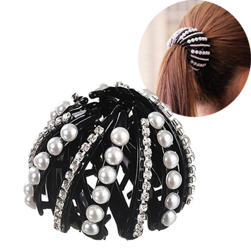Tool Solid Color Pearl Bowknot Women Hair Claw Bun Maker Ponytail Holder Metal