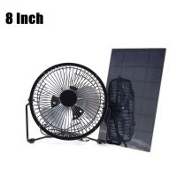 Solar Panel Powered / USB Charging Iron Fan 8 Cooling Air Fans For Outdoor Traveling Fishing Home Office