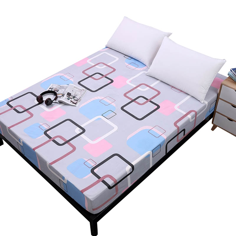 Einfachheit Reine Muster Druck Gebürstet Ausgestattet Blatt Matratze Abdeckung Mit Gummiband Weich Bettwäsche Bettwäsche Home Textile