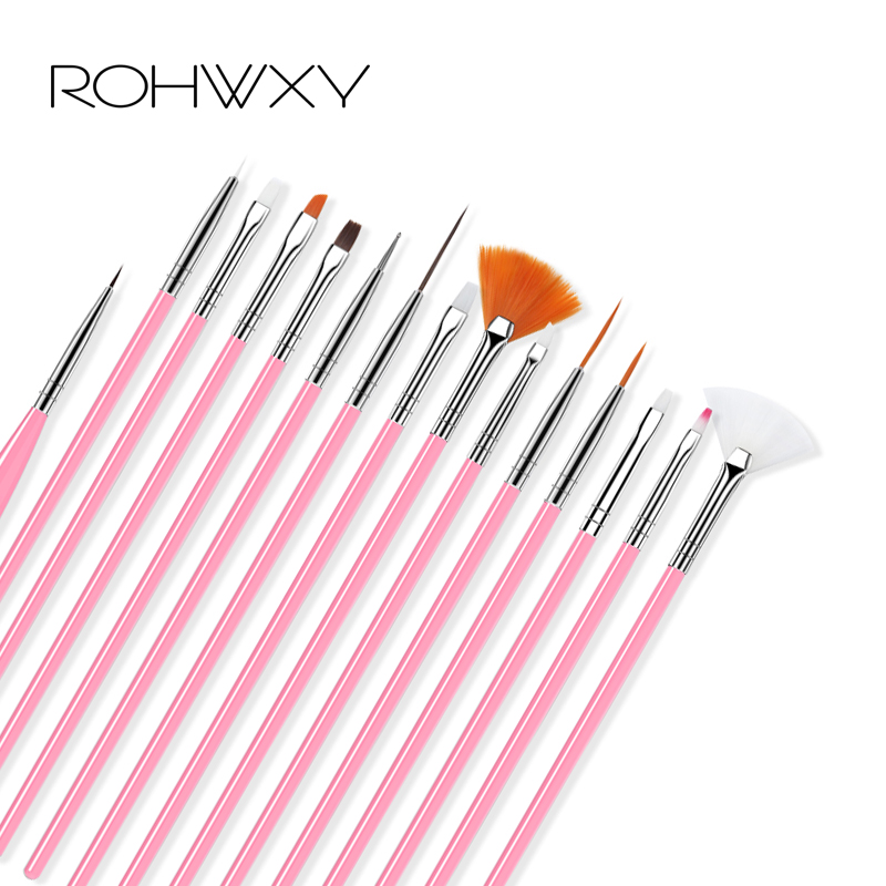 ROHWXY Nail Art Brush Set 15 Pcs Gel Nail Acrylic Brushes Nail Design Tool For Manicure Painting Draw Pen To Brush Gel Uv Nail