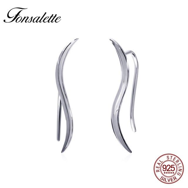 High Polished Sterling Silver Sweep Wrap Ear Crawler Cuff Earrings Minimal Fire