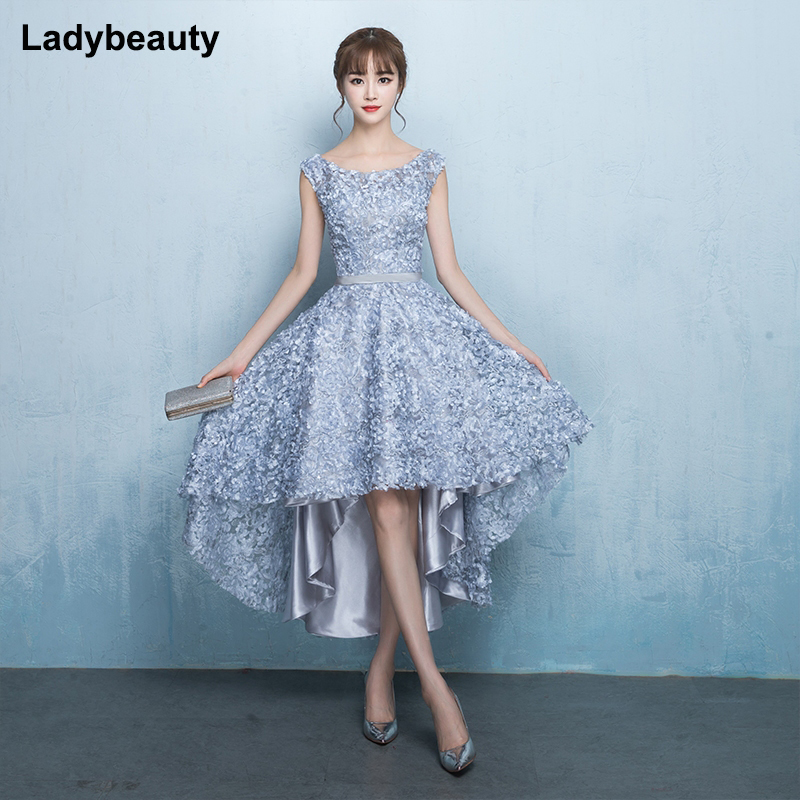 2019 New Arrival Gray Scoop Neck Flowers Lace Up Back Evening Dress Robe De Soiree Modern Classic Prom Dress Vesta De Festa