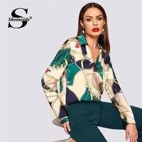 Sheinside Elegant Blouse Women Shirts Equestrian Print Ladies Tops And Blouses 2019 Autumn Shirt V Neck Satin Long Sleeve Top