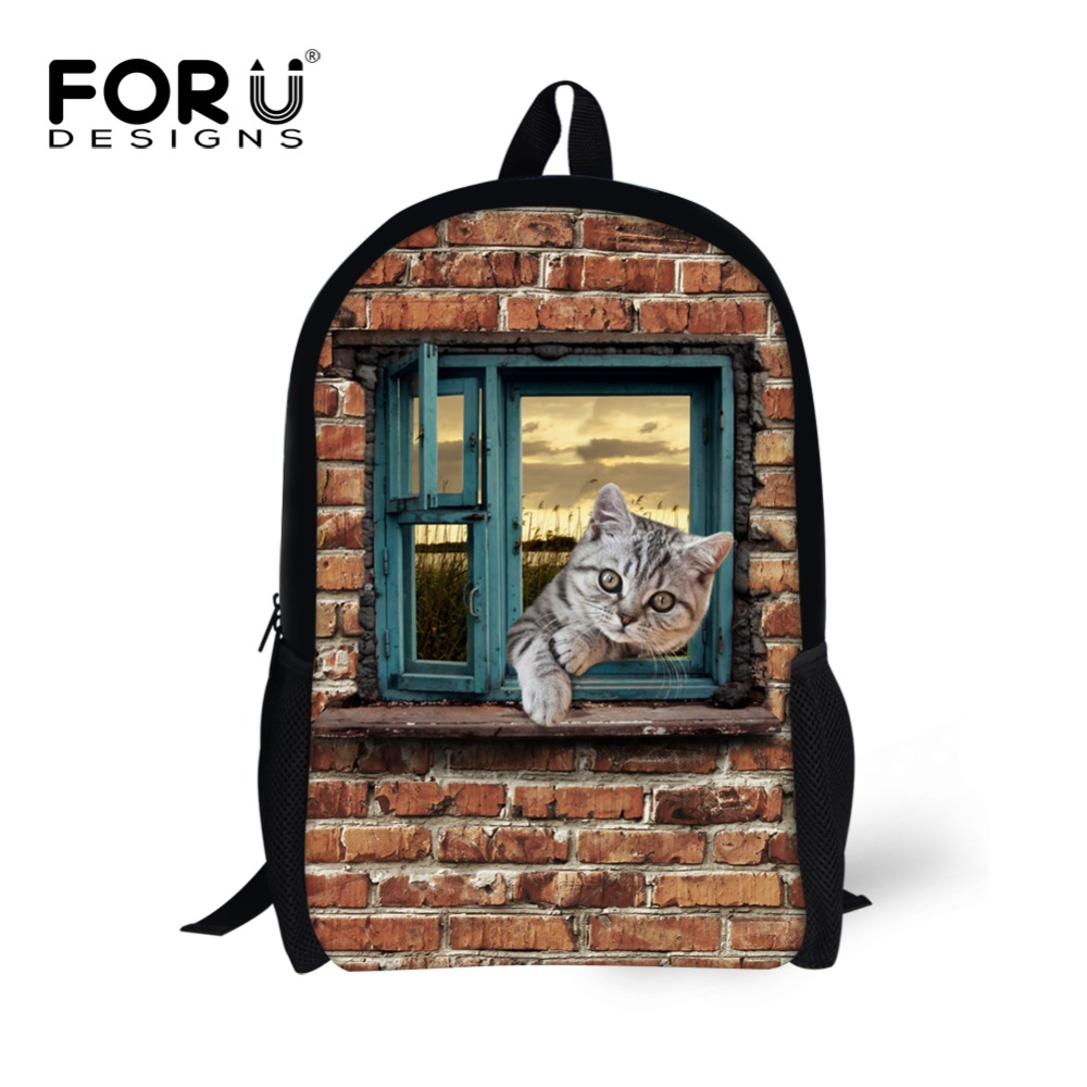 Vintage Style Children School Bags 3D Animals Cat Dog Print Kids Schoolbags Cute Student Children Girls Bookbag Mochila