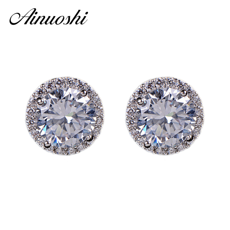AINOUSHI 1 pair Wholesale Stud Earrings 925 Sterling Silver Women Engagement Anniversary SONA Earrings pair of stylish rhinestone triangle stud earrings for women