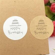 2000 sztuk okrągły kształt etykiety naklejane dla dzieci specjalne dni urodziny serii naklejki różne tort urodzinowy i kapelusz