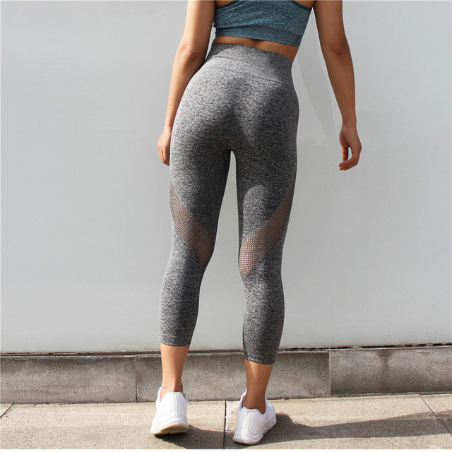 Colorvalue Seamless Mesh Running Sport Tights Women Mention Hip Gym Yoga Capri Pants Tummy Control Fitness Athletic Leggings 3