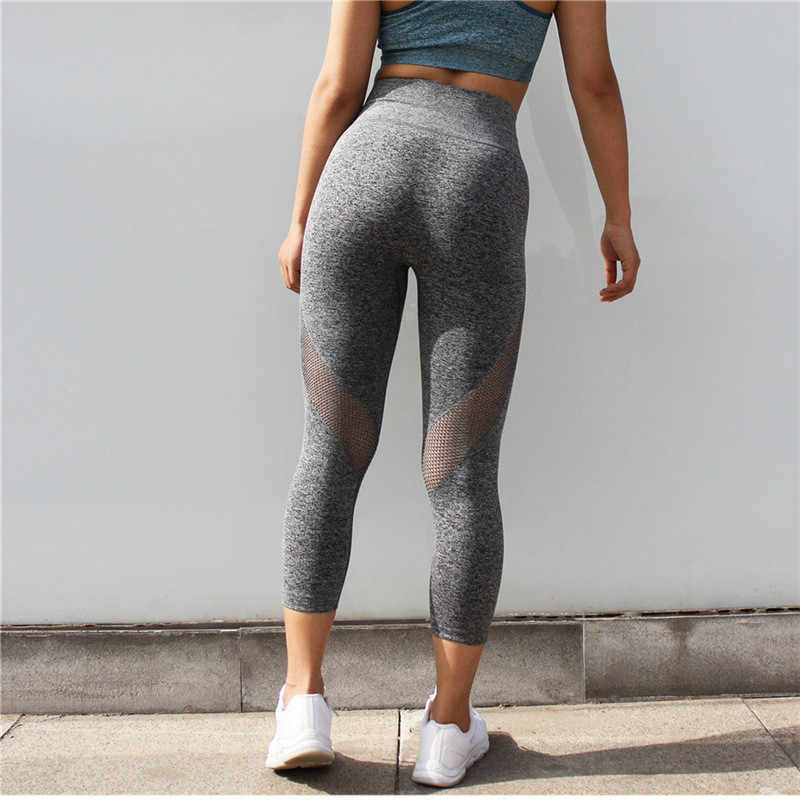 00545fb46a57f ... Colorvalue Seamless Mesh Running Sport Tights Women Mention Hip Gym  Yoga Capri Pants Tummy Control Fitness ...