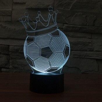 Voetbal 3d Lamp Kroon Creatieve Elektronische Producten 3d Nachtlampje Acryl energiebesparende Geleidelijke Tafel Usb Led Licht