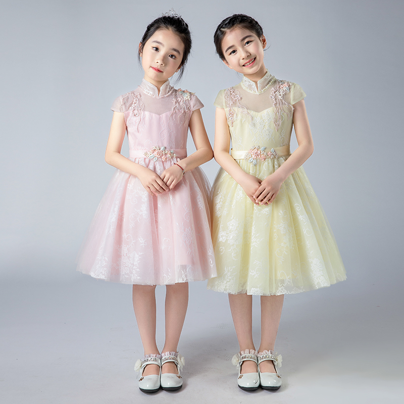 Children Girls Luxury Sweet Pink Yellow Color Wedding Birthday Party Princess Lace Prom Dress Kids Babies Host pageant Dress 2018 new korean sweet autumn summer children baby birthday wedding party prom dress kids girls pink color flowers pageant dress