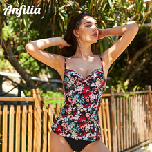 Anfilia Women Tankini Set Swimsuit Retro Floral Print Swimwear Padded Push Up Bikini Bathing Suit Beach Wear