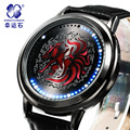 Naruto Anime Xingyunshi Hyun Pantalla Táctil LED 3ATM Impermeable Reloj de Cuero Hombres y Mujeres Luminoso Reloj relogio masculino
