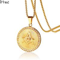Iftec Masonic Rays Pendant For Men Necklace Gold Color Stainless Steel 24inches Box Chain Freemason Male