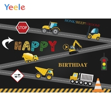 Yeele Birthday Truck Crane Tractor Clay Tanker Road Photography Backgrounds Customized Photographic Backdrops for Photo Studio
