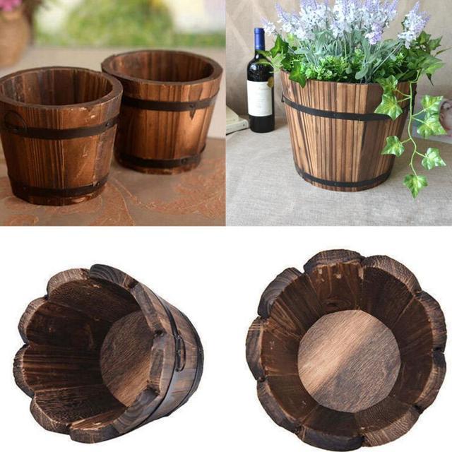 New Small Wooden Cask Ornamental Retro Barrel Flower Pot Flower Planter for Wedding Home Balcony Garden Decoration 1PC
