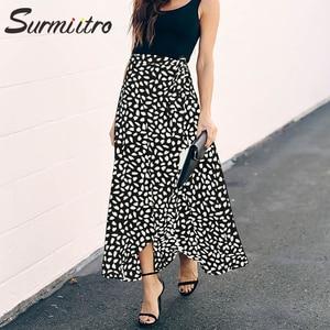 Image 5 - Surmiitro jupe longue imprimée à pois, jupe dété féminine, noire et blanche, fendue, taille haute, ligne a, mode 2020