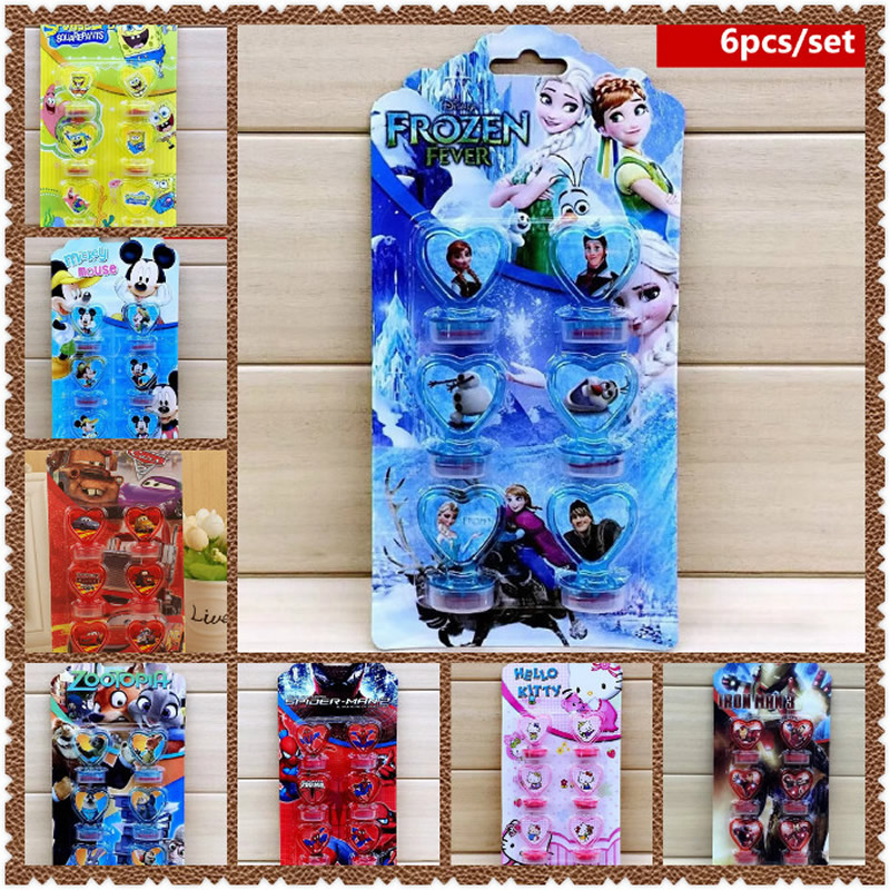 6Pcs Set Frozen Mickey Mouse Spiderman Disney Cars Stamps Favors DIY Birthday Party Supplies Decoration Baby Shower Event Kids