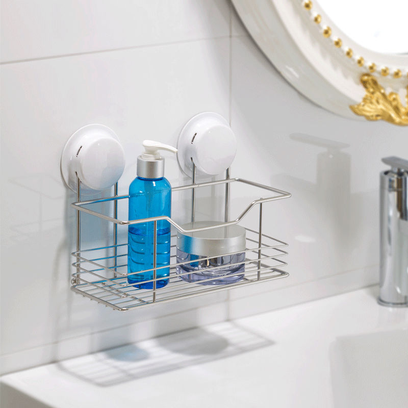 Multi function Suction Cup Stainless Steel Shelf Bathroom and ...