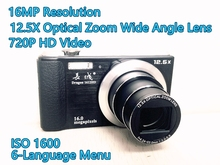 Super Dragon 1612HD Digital Camera Compact Photo Camera 16MP 720P HD Video 12.5x Optical Zoom 2.7″ Screen IOS 1600 Wide Angle