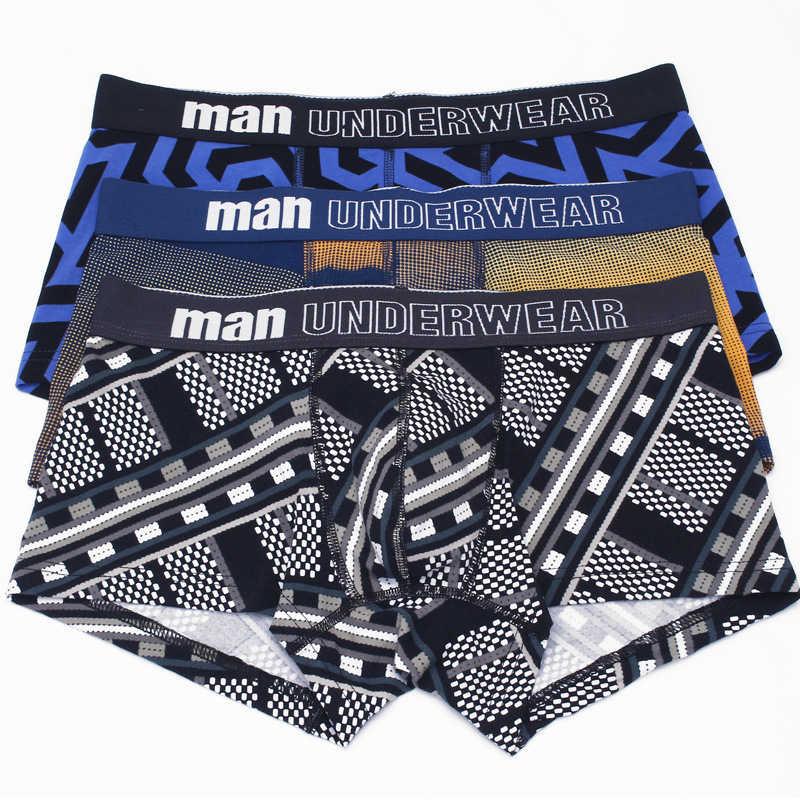 4pcs Male panties cotton mens underwear boxers hombre cueca underpants shorts for man sexy winter print man boxer M-3XL