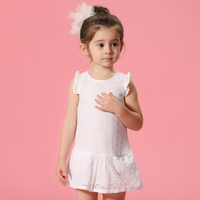 2016 Summer Baby 2 8 T Years Girl Children S Clothes Flutter Sleeves White Yellow Lace