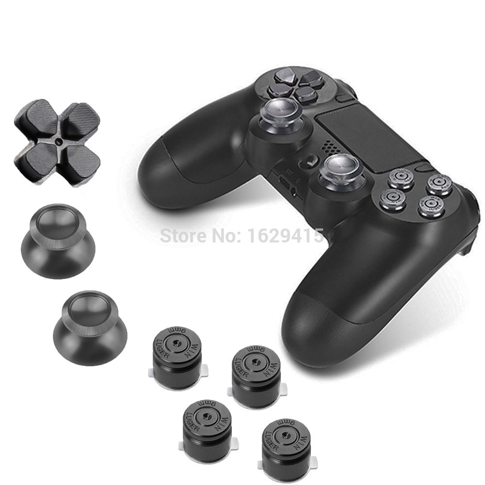 IVYUEEN For Sony Playstation 4 PS4 Pro Slim Controller Aluminum Alloy Metallic Metal Dpad Thumbsticks and Face Buttons Mod Kit
