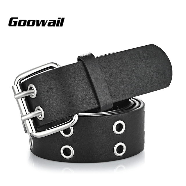 2e0dfa1ebc9 Goowail 2019 or 2 rangées oeillet mode ceintures pour femmes Double boucle  ardillon Designer PU cuir