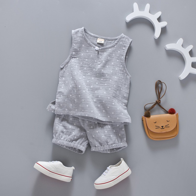 2 pcs Summer Baby Children Cute Star Tree Printed Sleeveless Boys Girls Tank Tops and Shorts Suits Outfits Clothing Sets S2 free shipping 2017 winter thickening children s suits baby boys and girls pentagram smiley face velvet 2pcs sets