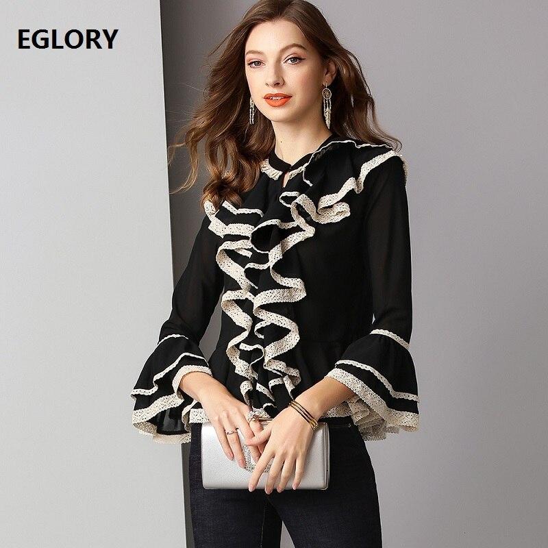 2019 printemps mode noir Blouse offre spéciale chemise femmes Appliques dentelle Patchwork Flare manches Vintage Blouse chemise femmes hauts