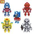 LOZ Mini Partículas Bloco Bumblebee Optimus Prime Figura de Ação do Robô Diamante Blocos de Construção Tijolos de Brinquedo de Plástico ABS Kit