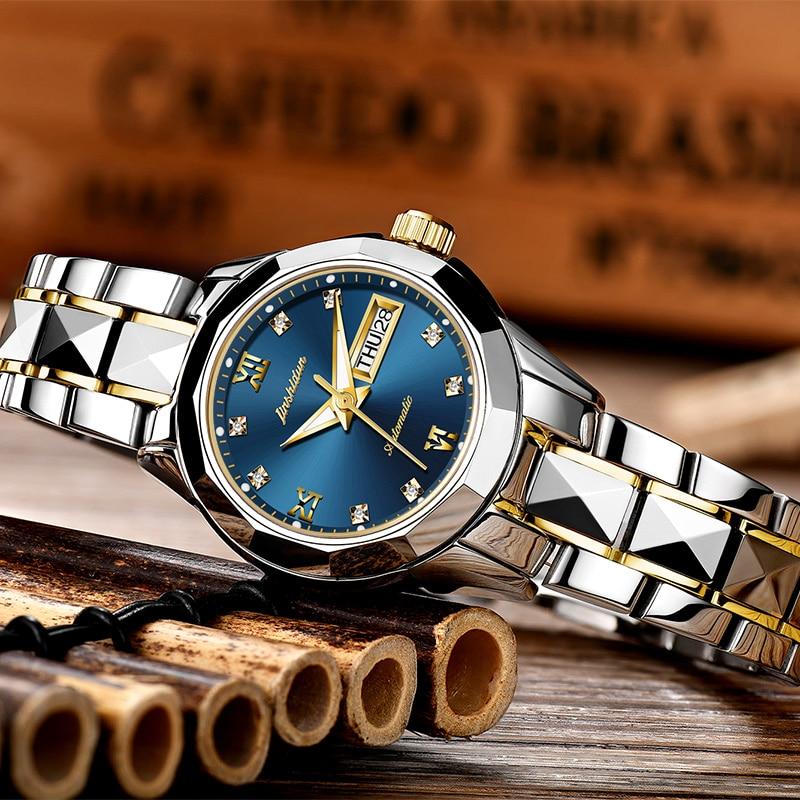 JSDUN montres mécaniques femmes or Rose montre automatique mécanique dames montres étanche auto remontage horloge en acier inoxydable-in Montres femme from Montres    1