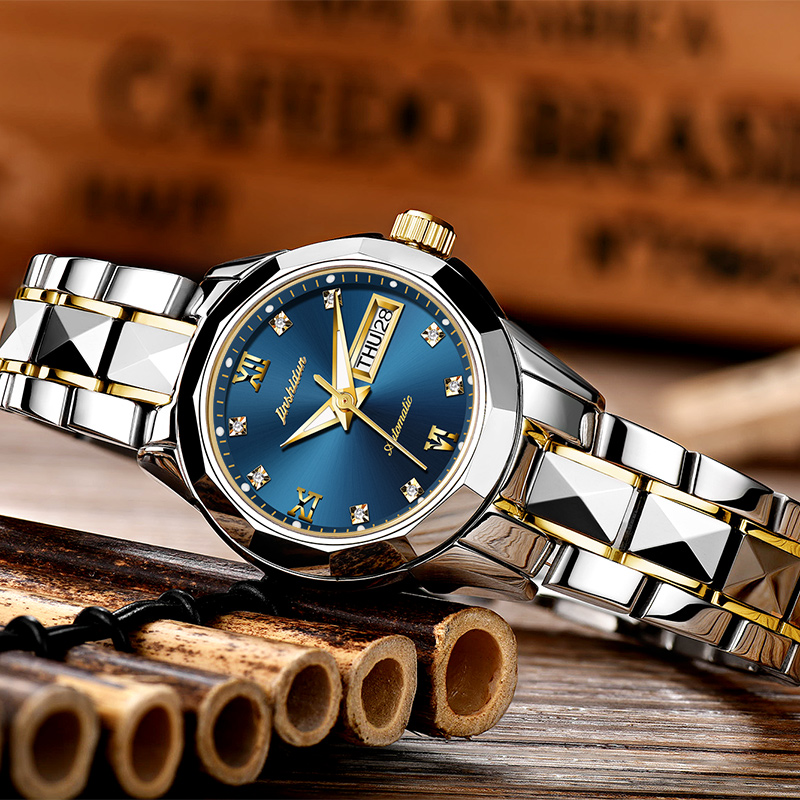 JSDUN zegarki mechaniczne kobiet wzrosła złoty zegarek automatyczny mechaniczny panie zegarki wodoodporna samonakręcający zegar ze stali nierdzewnej w Zegarki damskie od Zegarki na  Grupa 1