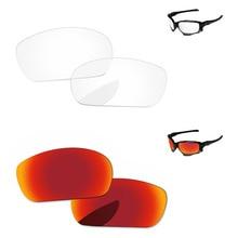 523d966390 Rojo fuego y cristal claro, 2 pares de espejo de reemplazo de lentes para  Jawbone gafas de sol marco 100% UVA y UVB protección