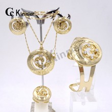 Mujeres de la manera de La Boda de Nigeria africano Sistemas de la Joyería de Dubai 18 K Rose Círculo de oro Colgante Pendientes Establecidas con un conjunto completo de joyería