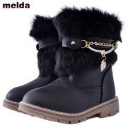 Children Winter Plush Boots Girls Snow Boots Kids Leather Warm Student Shoes For Girl Fashion Rabbit