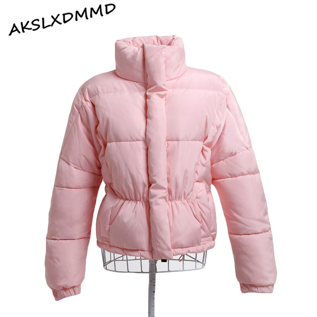 Grande Tamanho Mulheres Jaqueta de Inverno 2017 Novos Coreano Moda Legal Algodão-acolchoado Com Zíper Jaqueta Curta Fêmea solta Outerwear LH557