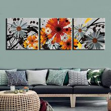 Posters and Prints Painting Still life flower Pictures Wall Art for Living Room Home Decor Canvas Art 3 Piece Set Framed(China)