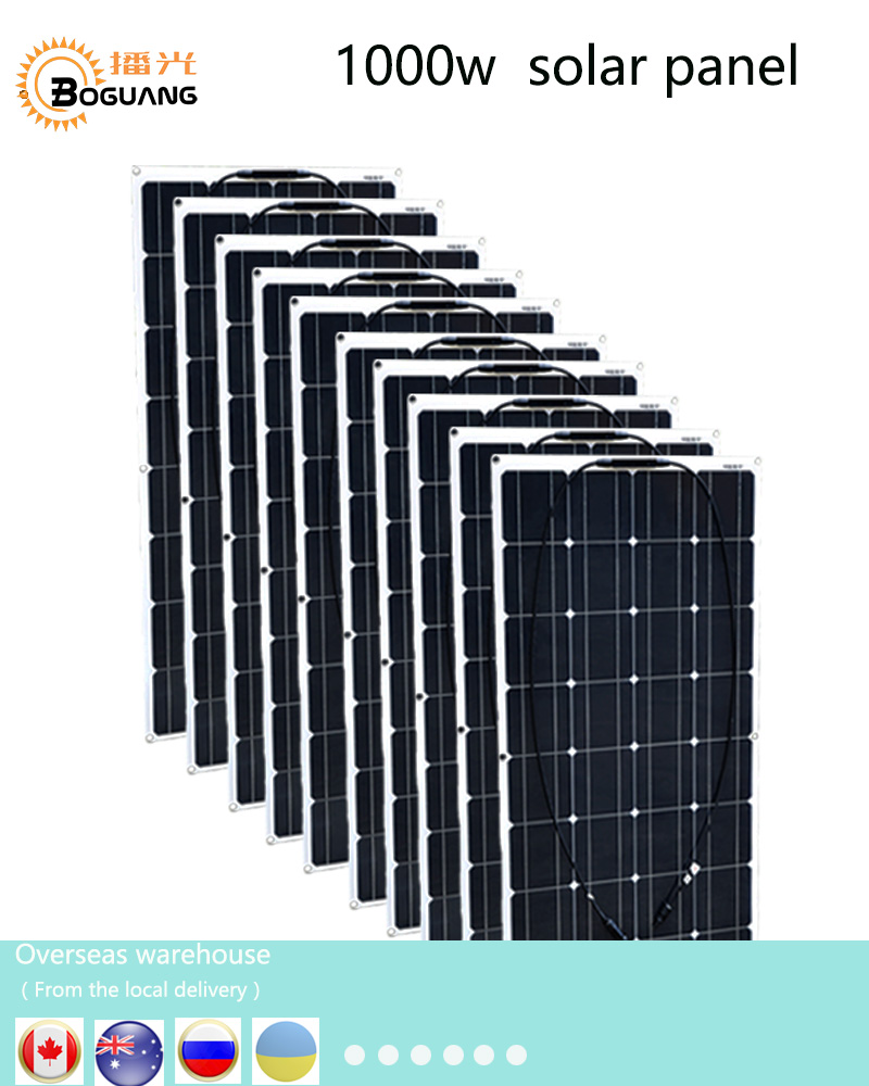 Boguang 1000w solar panel 10*100w solar module Monocrystalline silicon cell MC4 connector for 12v battery house RV power charge 50w 12v semi flexible monocrystalline silicon solar panel solar battery power generater for battery rv car boat aircraft tourism