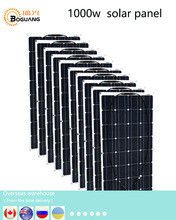 Boguang 1000w solar panel 10*100w solar module Monocrystalline silicon cell PV connector for 12v battery house RV power charge boguang 50w glass monocrystalline solar power station solar cell factory cheap selling 12v solar panel for home battery charge