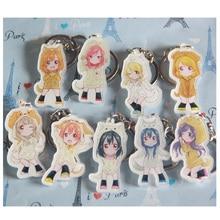 8pcs/set Anime LoveLive!Hanayo Kot Umi Nozomi Kawai Cute Cos Puppy Keychains Pendant llavero Portachiavi Gift Present Collect