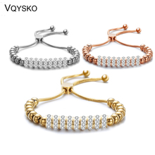 Stainless Steel Adjustable Beaded Bracelets for Women Fashion Crsytal Charm Bangle & Bracelet femme Wedding Jewelry Accessories цена и фото