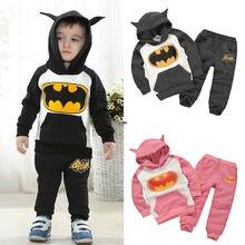 2015 new Baby Kids Girls Boys Batman clothes 2pcs Hoodie top + pants Suits children's clothing set 2-7Y
