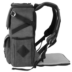 Image 4 - Eirmai Grey Canvas Large Capacity Camera Video Shoulders Backpack Waterproof w Rain Cover fit 15inch Laptop for DSLR Photo Drone