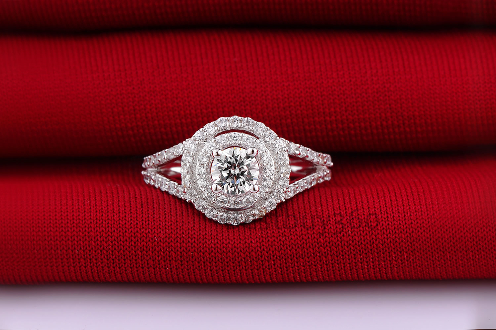 1 carat 925 pure silver simulated diamond ring lovers ring artificial diamond jewelry (BB) kcchstar 18k crystal ring with artificial diamond golden purple