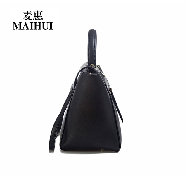 Maihui designer handbags high quality real cow genuine leather bags for women 2017 new fashion shoulder bags trapeze tote bag