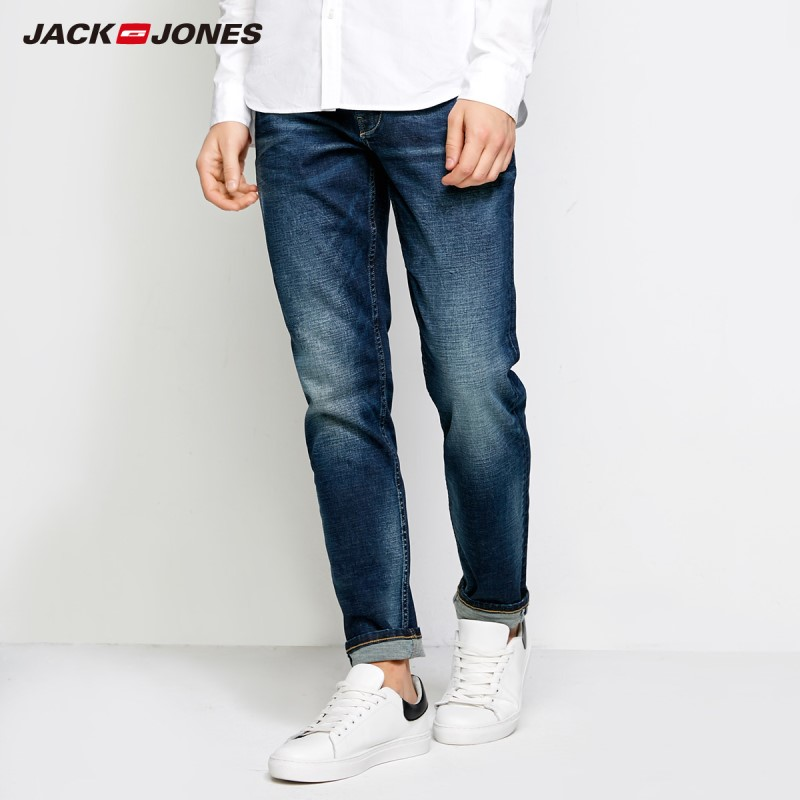JackJones Men's Summer Lycra-blend Whiskering Fading Loose Fit   Jeans   Business Casual Classic Trousers Denim Pants |218332589